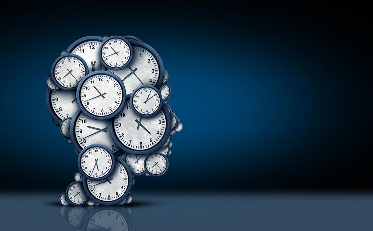 Group of clocks shaped as a human head