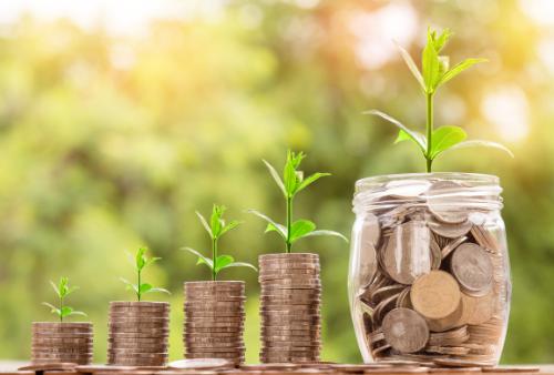 seedlings growing out of increasing piles of coins