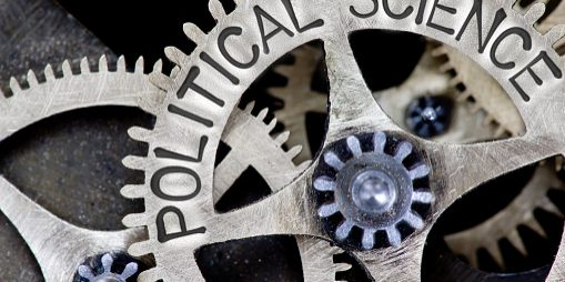 Several cogs, with 'Political Science' etched on one