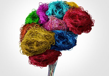 Representation of brain & stem using sewing and textile threads
