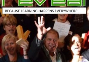 "Headline ""Reveal - because learning happens everwhere, and people looking celebratory"